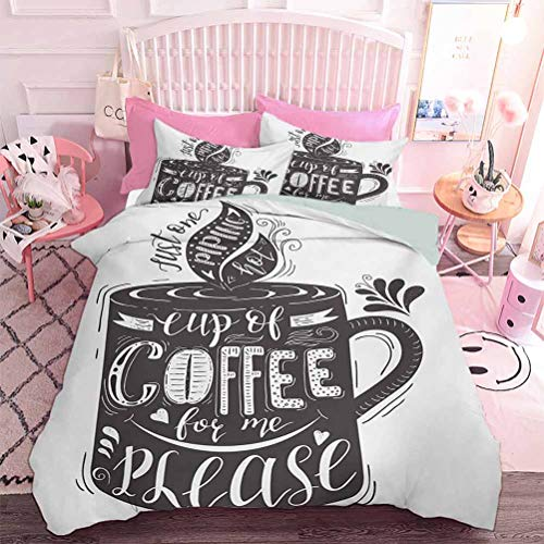 Juego de cama de 3 piezas con letras artísticas dibujadas a mano en una taza de café, bebidas aromáticas calientes (3 piezas, tamaño completo), funda de edredón con impresión realista 3D