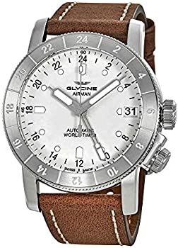 Glycine Airman Worldtimer Dial Brown Leather Men's Watch