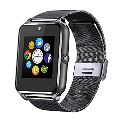 JIUXI Smart Watch for Women Kids Men, Bluetooth Replaceable Band Sweatproof Touch Screen Smartwatch with Handsfree Call/Camera/Call Reminder for All Android 4.2 and iOS