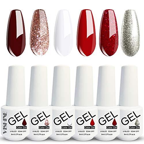 Vishine Gel Nail Polish Set of 6 Elegant Glitter Colors Red White Soak Off UV LED Gel Nail Art Gel Polish Kit 8ml Non-Toxic