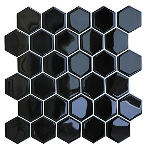 HyFanStr Peel and Stick Wall Tiles Backsplash for Kitchen, Self Adhesive 3D Tile Stickers for Bathroom, Black Subway Stick On Tiles Splashback (Pack of 4)