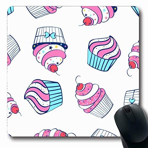 Mausemat Buntes Baby Cupcake Muster Hand Mädchen Zeichnung Rosa Schönheit Kuchen Dessert Süßigkeiten Süßkirsche Süße Schule 25X30Cm Mousepad Computer Längliche Rutschfeste Gummisp
