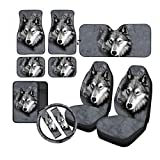 Grey Wolf 2pcs Front Bucket Car Seat Covers and 4pcs Automotive Floor Mat, Console Armrest, Steering Wheels Cover, Windshield Sun Shade and Seat Belt Pads Set for Car SUV Truck & Van