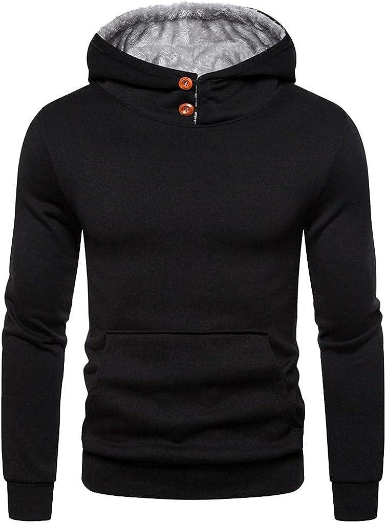 Qsctys Mens Fleece Hooded Winter Warm Sweatshirts Slim Fit Solid Color High Neck Crewneck Hoodies Pollover Fashion Casual