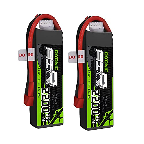 OVONIC 11.1V 2200mAh 3S 25C Lipo Battery with Deans Plug for RC Car Boat Truck Heli Airplane Quadcopter Helicopter Multi-Motor Hobby DIY Parts (2 Packs)