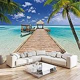 Fondo de pantalla Fotomurales Barco de muelle de playa 78.74 x 59.05 inches - 4 Strips Papel pintado tejido no tejido Decoración De Pared Sala Cuarto Oficina Salón