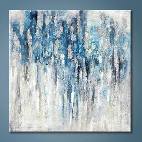 Abstract Wall Art Canvas Picture Blue and Gray Artwork Modern Painting for Bathroom product image