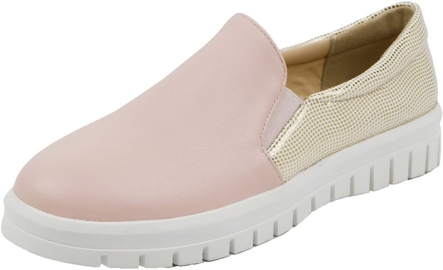 WeiPoot Women's Assorted color PU Low-Heels Pull-On Pumps-shoes