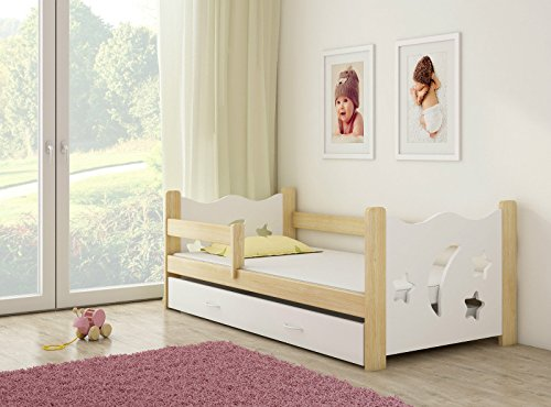 Clamaro 'Sternenhimmel' 160 x 80 Kinderbett mit Rausfallschutz (8 Farben), Bett inkl. Matratze, Lattenrost und Unterbett Schublade auf Rollen und verstellbaren Seitenteil, Design: Weiß/Holz