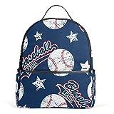 Mochila de lona para deportes de béisbol, diseño de estrellas, gran capacidad, casual, para niños, niñas y estudiantes