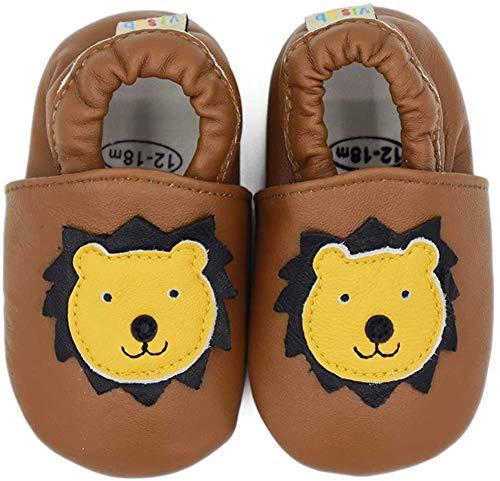 Vesi , Chaussures souple pour bébé (garçon) Brauner Löwe Größe XL:18-24 Monate