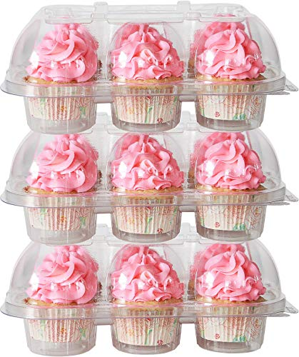 10-Pack of 6-Compartment Stackable Cupcake Carrier (60 Cupcake Holders) - High Tall Dome Clear Cupcake Boxes for Mini or Full-Size Cupcakes, Cupcake Containers Plastic Di...
