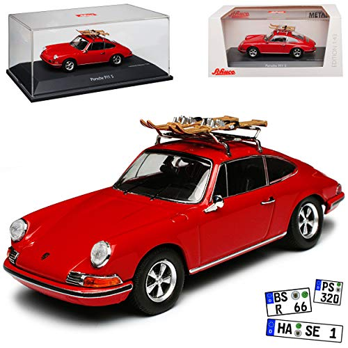 Porsche 911 S Urmodell Coupe Rot mit Skier Dachträger 1963-1973 1/43 Schuco Modell Auto mit individiuellem Wunschkennzeichen