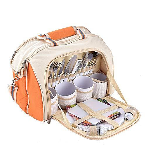 Heqianqian Picknicktasche 4 Person Picknick Rucksack Tasche mit Decke beinhaltet 29 Stück Kühltasche abnehmbare Flasche/Weinhalter Fleecedecke Besteck und Platten Für Camping/Outdoor