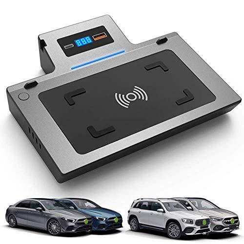 BUSUANZI Cargador inalámbrico para automóvil para Mercedes-Benz Clase A GLA GLB 2019 2020 15W Cargador de teléfono de Carga rápida Pad de actualización de Consola Central USB para iPhone Samsung