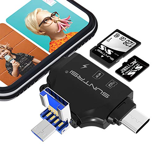 4 in 1 SD Card Reader for iPhone ipad Android Mac PC Camera,Micro SD Card Reader SD Card Adapter Portable Memory Card Reader Trail Camera Viewer Compatible with SD and TF Card