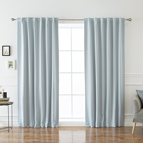 Best Home Fashion Premium Thermal Insulated Blackout Curtains - Back Tab/ Rod Pocket - Sky Blue - 52' W x 120' L -Tie Backs Included (Set of 2 Panels)