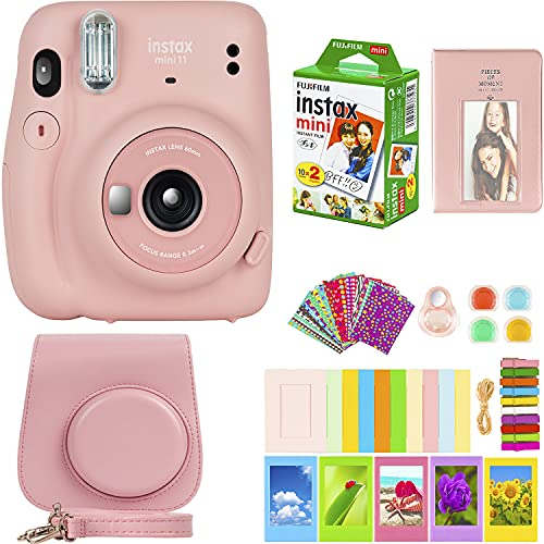 Fujifilm Instax Mini 11 Camera with Fujifilm Instant Mini Film (20 Sheets) Bundle with Deals Number One Accessories Including Carrying Case, Color Filters, Photo Album, Stickers + More (Blush Pink)