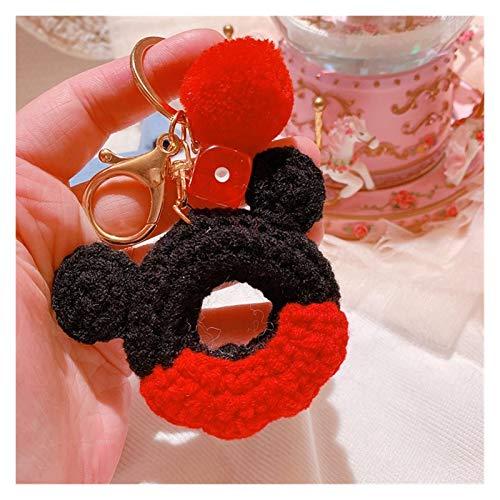 Djujiabh Llavero Escolar Magnga Colgante Juguete para niña Llavero Llaves de Mano Moda Mickey Mouse Lindo Donut Bola de Peluche Llavero (Color : 1)