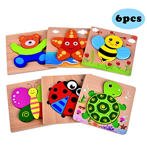 Yostyle Wooden Jigsaw Puzzles, [6 Pack] Animal Puzzles for Toddlers Baby Kids 1 2 3 Years Old Educational Toys Gifts for Boys and Girls