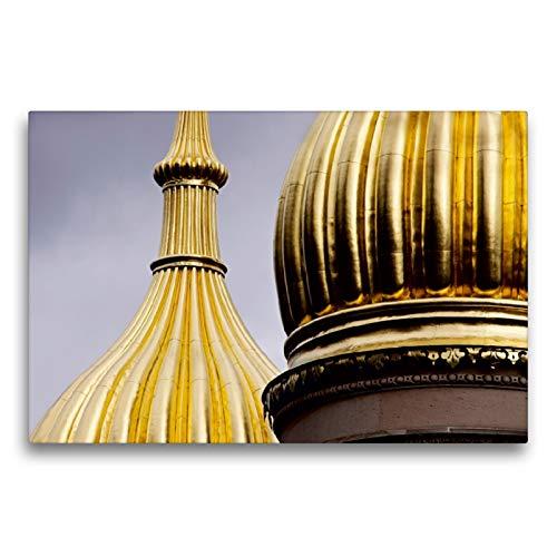 Premium - Lienzo de lienzo (75 x 50 cm, horizontal, diseño de la iglesia rusa de Wiesbaden en bastidor, lienzo auténtico, impresión sobre lienzo, torre de cebollas (CALVENDO Orte);CALVENDO Orte