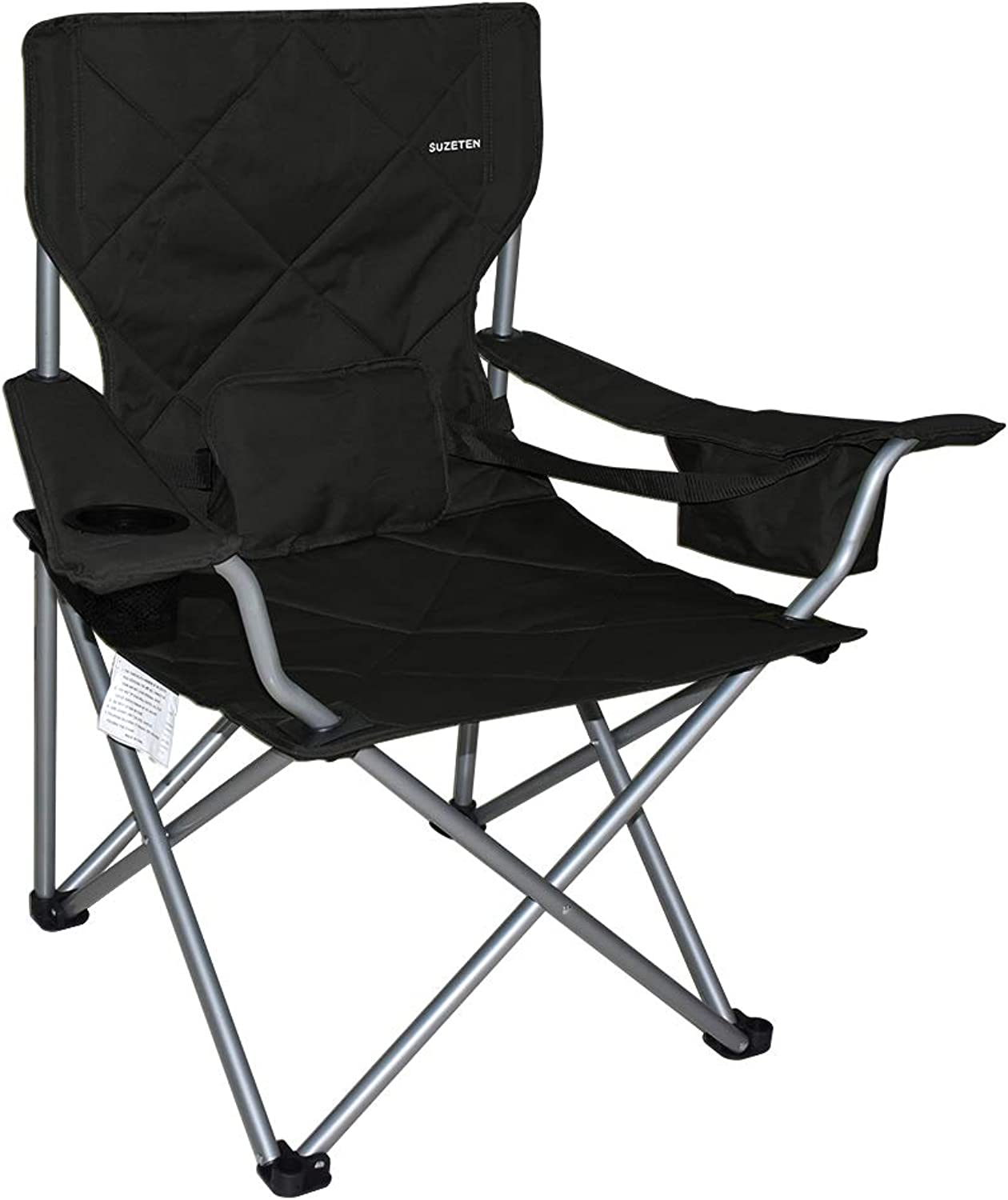 Suzeten Oversized Folding Camping Chair Quad Arm Chair with Heavy Duty Lumbar Back Support, Cooler Cup Holder, Back Mesh Pocket, Shoulder Strap Carrying Bag, Supports 500 lbs, Black