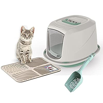 Green Galaxy Cat Litter Tray Bundle + Cream Tray Mat + Green Scoop - Hooded Toilet Charcoal Filter