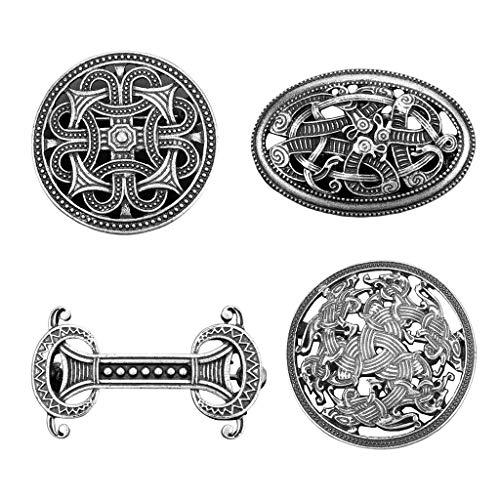 Kloware 4 Pieces Viking Brooch Pin Vintage Celtic Knot Cloak Buckle