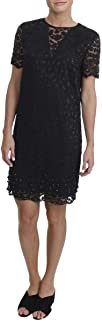 Juicy Couture Womens Soft Woven Leopard Lace Embellished Shift Dress