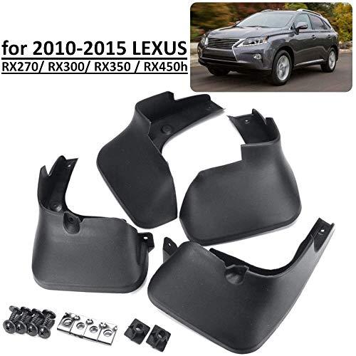 WFbag 4 Pcs Set Auto Kotflügel für Lexus RX RX270 RX300 RX350 RX450H 2010-2015, Vorne Hinten Kotflügelverbreiterungen Spritzschutz Gummi Schmutzfänger Autozubehör