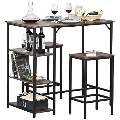 HOMCOM Bartisch-Set Stehtisch mit 2 Barhockern 3-teiliges Tischset Küchentresen mit Regale Spanplatte Stahl Rustikales Braun+Schwarz 109 x 60 x 100 cm