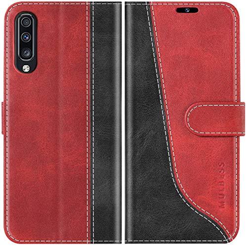 Mulbess Funda para Samsung Galaxy A70, Funda Móvil Samsung Galaxy A70, Funda Libro Samsung Galaxy A70 con Tapa Magnética Carcasa para Samsung Galaxy A70 Case, Vino Rojo
