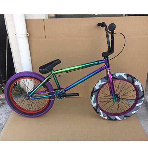 GASLIKE Bicicleta BMX Freestyle para Adolescentes y Adultos, Principiantes a avanzados, Cuadro CRMO de Alta Resistencia, Ruedas de 20 Pulgadas,C