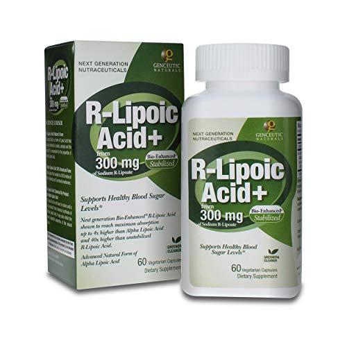 Genceutic Naturals R-Lipoic Acid Dietary Supplement Vegetarian Vegan Gluten Free Non GMO Ideal for Glucose Insulin Blood Level Maintain - 300mg (60 Capsules)