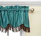 HiEnd Accents Cheyenne Faux Tooled Leather Western Curtain Valance, 18' x 84', Turquoise