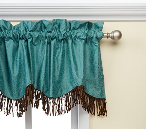 """HiEnd Accents Cheyenne Faux Tooled Leather Western Curtain Valance, 18"""" x 84"""", Turquoise"""