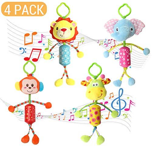 Mankoo Baby Mobile 4 Piezas Baby Animal Sonajero Juguetes Colgantes Felpa Campanas de Viento Llamativo Animal en la Cama del bebé, Cuna, Cambiador o en el Arco de Juego