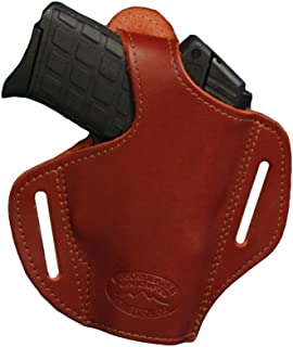 Barsony New Burgundy Leather Pancake Holster for 380 Ultra Compact 9mm 40 45