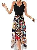 Vestido maxi casual de mujer con estampado floral con cuello en V y escote en V para vestidos de playa