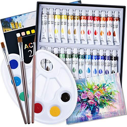 EXTSUD Colori Acrilici Bambini per Dipingere Set Pittura include 24 Tubetti Tempera da 12ml, 3 Pennelli, Tavolozza, Tela Pittura, Colori Assortiti Alta Pigmentazione per Pittura su Muro/Tela/Legno