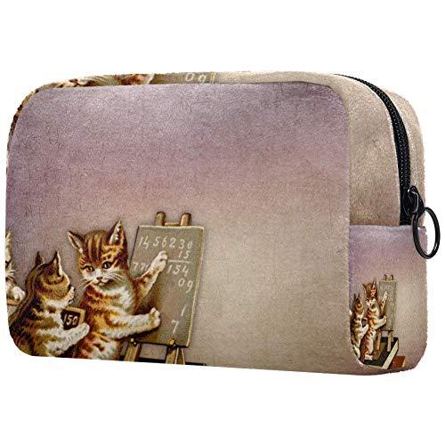 Katzen-Make-up-Tasche, Kulturbeutel für Frauen, Hautpflege, Kosmetik, Handtasche mit Reißverschluss