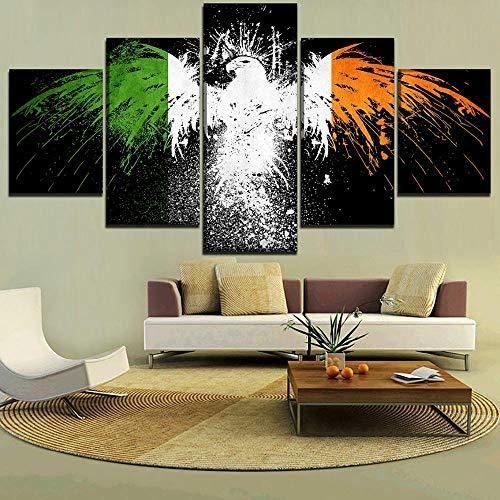 ZhuHZ Wandkunst Leinwanddruck Poster 5 irische Flagge Bilder Wohnkultur abstrakte Malerei Wohnzimmer Rahmen