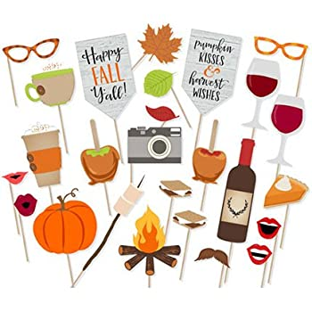 Happy Fall Yall Photo Booth Props Kit Thanksgiving Day Harvest Festival Pumpkin Party Supplies-26 count