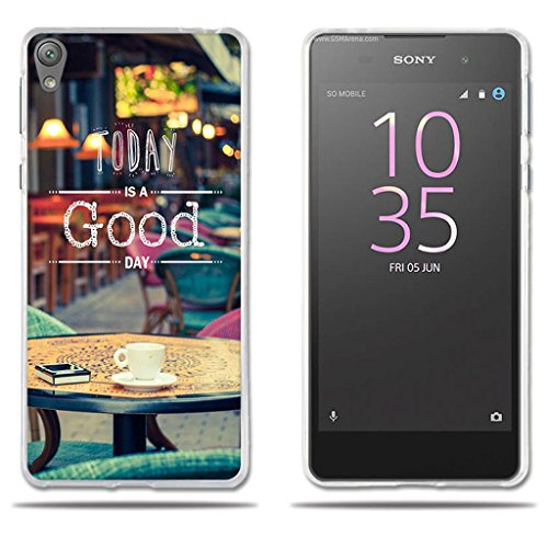 Funda Carcasa para Sony Xperia E5, Carcasa de Silicona Transparente TPU, FUBAODA, Dibujo con Lema Buen Día, Carcasa Protectora de Goma de Altisima Calidad para Sony Xperia E5 (5.0