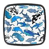 [4 unidades] Tirador de cajón de cristal con tornillos para el hogar, oficina, armario, armario, armario, diseño de tiburón, delfín, azul y negro