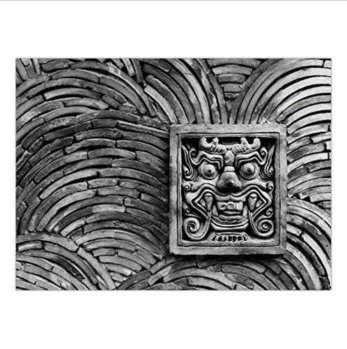 Djkaa wandafbeelding, canvas, muurschildering, kunst, olieverfschilderij, tekeningen, niet ingelijst, zwart en wit, landschap, gloeilamp met microfoon - (met frame) 06