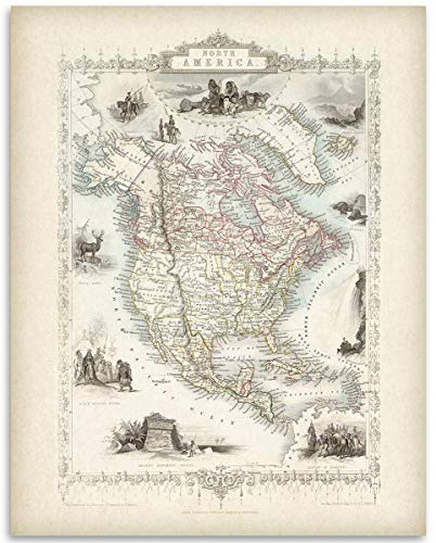 North America Map - 11x14 Unframed Art Print - Great Vintage Gift and Decor for History Buffs and Old Map Enthusiasts Under $15