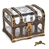 Plastic Transparent Antique Pirate Treasure Box with Lock and Key, Treasure Toy Box Prizes for Kids, Pirate Party Decor