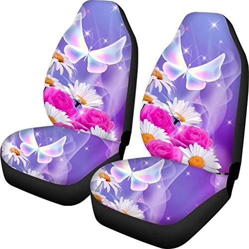 Fundas de asiento de coche divertidas con estampado de mariposas para reposacabezas desmontables y no desmontables.
