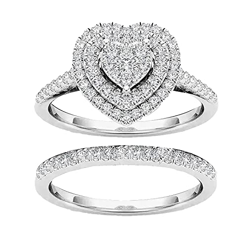 ZSWWang Heart Rhinestone Rings Set for Women, 2PCS Stackable Ring Bands Engagement Wedding Anniversary Jewelry Promise Ring with Crystal,Gift for Valentine's Day/Birthday/Chirstmas (Silver, 8)